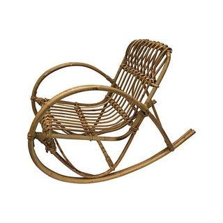 Mid-Century Bamboo Child's Rocking Chair