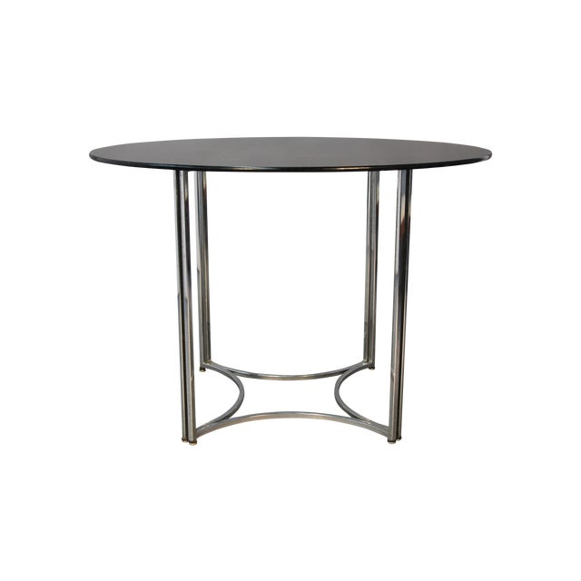 Chrome and Smoked Glass Round Top Dining Table - Image 1 of 6