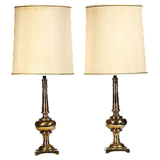1960s Stiffel Brass Table Lamps - A Pair