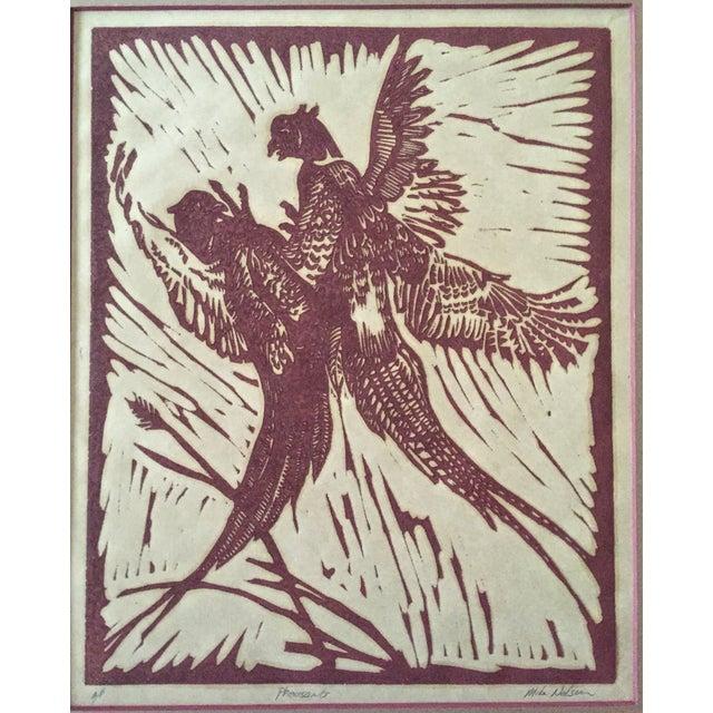 Image of Pheasants Woodblock Print M. Nelson