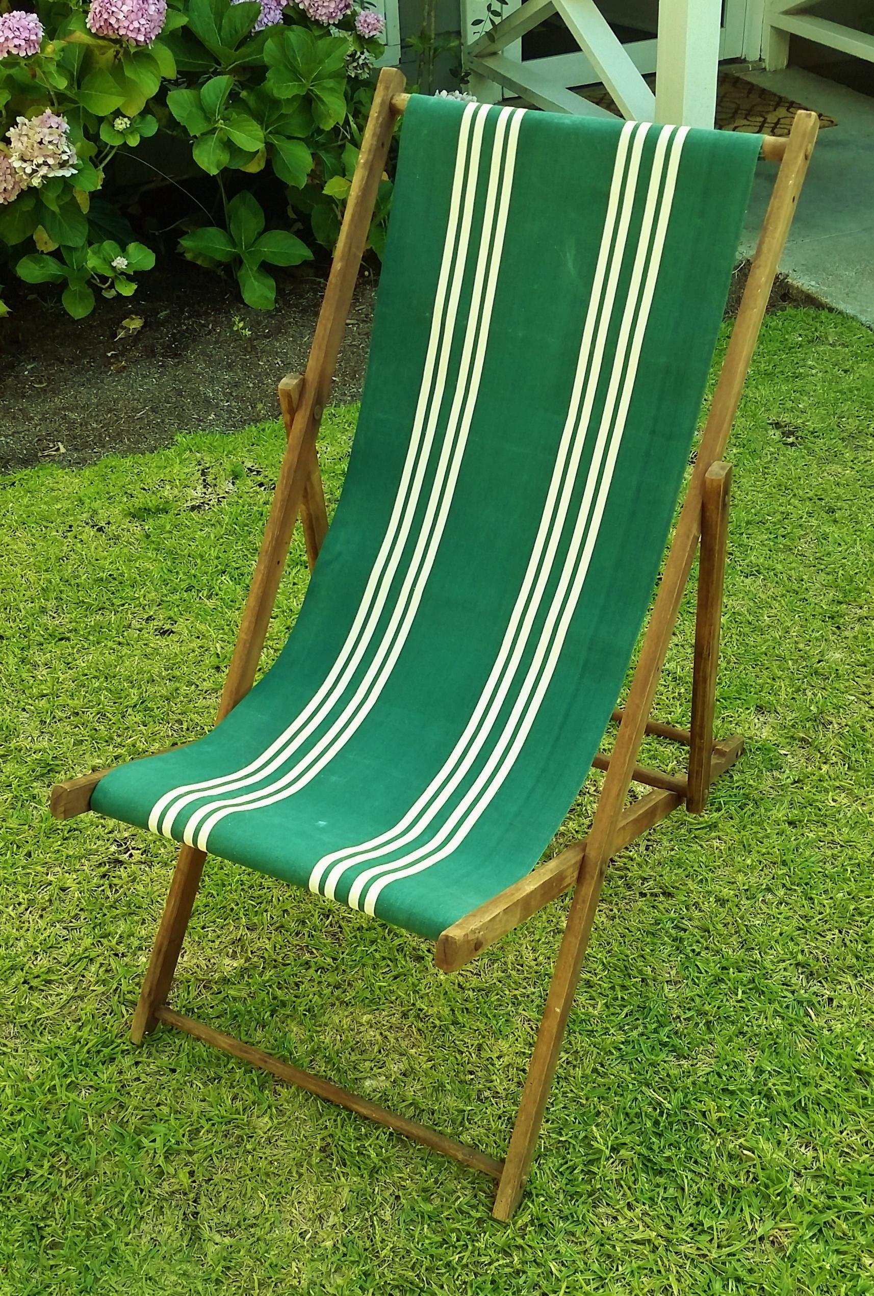 Vintage Wood Amp Canvas Folding Beach Deck Chair Chairish
