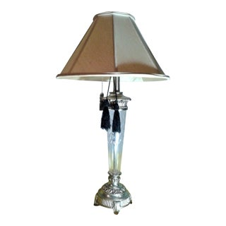 Neoclassical Cut Glass, Chrome & Tassels Table Lamp