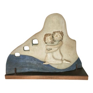 Studio Pottery Wave Sculpture, Signed Loyda