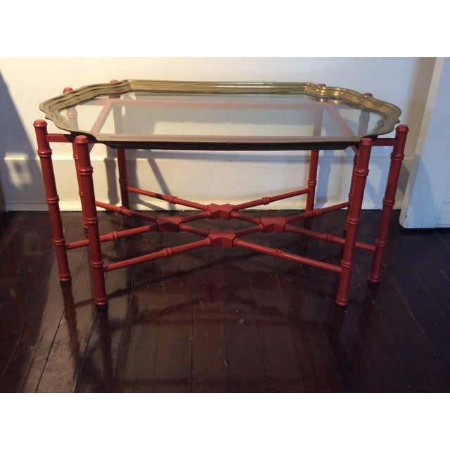 Vintage Coffee Table With Seperate Glass/Brass Top