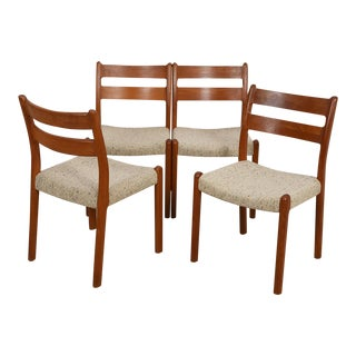 Danish Modern Dining Chairs in Thick Sculpted Solid Teak - Set of 4