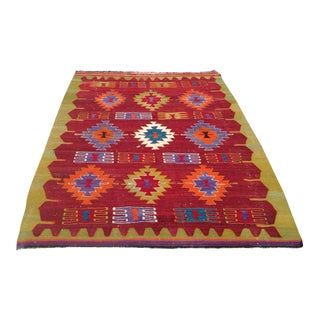 Vintage Turkish Kilim Rug - 4′10″ × 6′4″