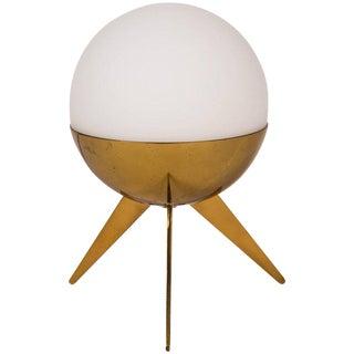 1950s Stilux Milano Brass & Glass Tripod Table Lamp