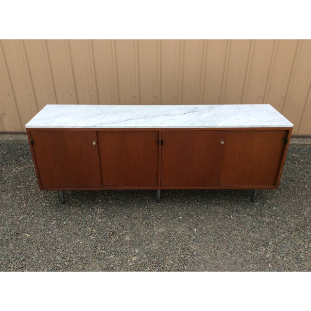 Image of Florence Knoll Walnut Carrara Marble Credenza