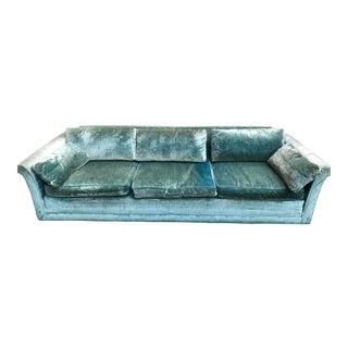 Vintage John Stuart Turquoise Velour Sofa Couch