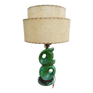 Mid-Century Modern Green Blue Ceramic Lamp