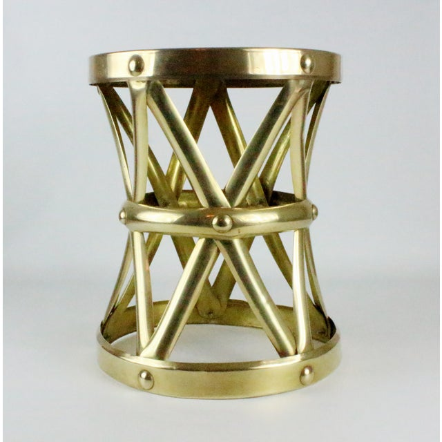 Mid Century Brass X Drum Stool - Image 2 of 8