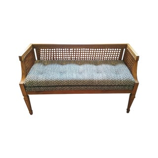 Vintage Cane Bench With Newly Upholstered Cushion