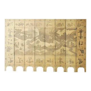 Chinese Eight-Panel Monochromatic Ivory Coromandel Screen