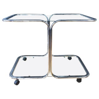 Milo Baughman Style Chrome & Glass Bar Cart