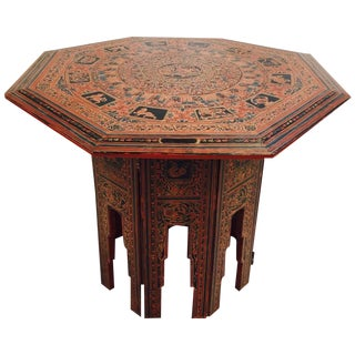 Antique Burmese Style Lacquered Side Table
