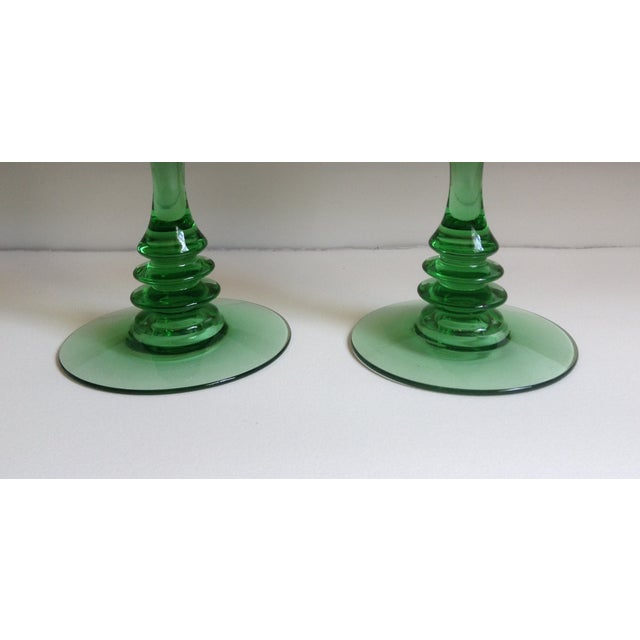Image of Green Depression Glass Candle Holders - A Pair