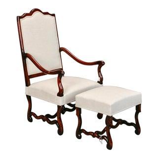 French Louis XIV Style Os De Mouton Arm Chair & Matching Ottoman