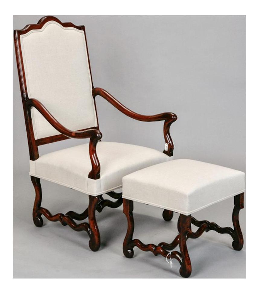 French Louis XIV Style Os De Mouton Arm Chair U0026 Matching Ottoman