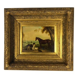 Antique English Dogs & Horse Painting