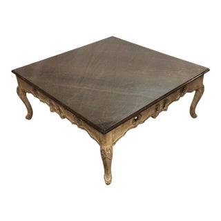 Smoked Gray Marble Top French Coffee Table