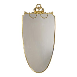 French Shield Shaped Brass Mirror