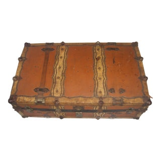 Vintage Shabby Chic Leather Like & Vellum Trunk