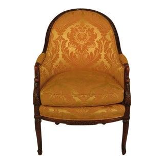 Vintage Swan Carved Arm Upholstered Chair