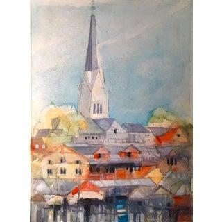 "Steve Klinkel ""Hallstatt Austria"" Watercolor Painting"