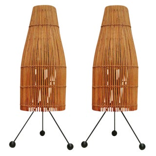 Raymor Wicker Fish Trap Table Lamps - a Pair