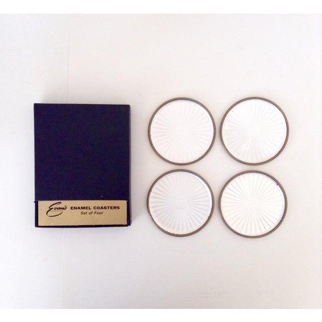 Vintage Pearl White Enamel Coasters - Set of 4 - Image 2 of 5