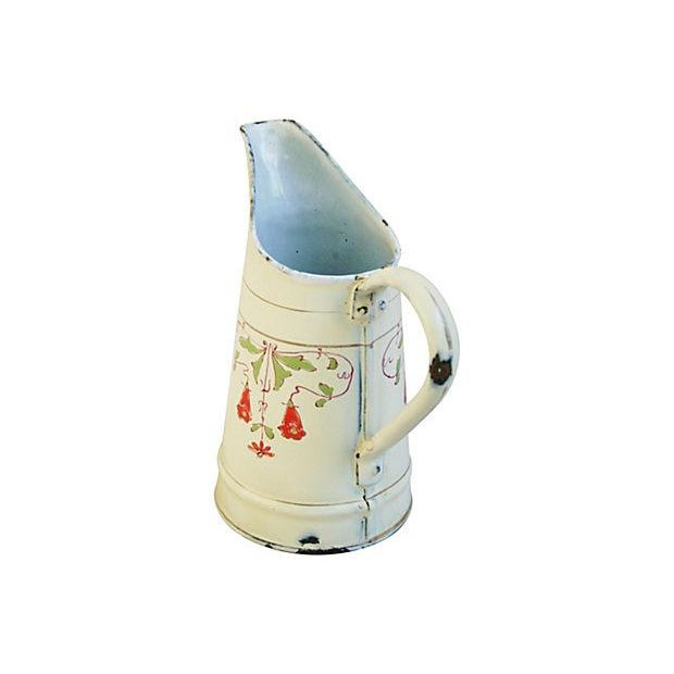 Antique 1930s French Hand-Painted White Pitcher - Image 4 of 7