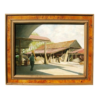 20th C. Oil Painting 'The Wood Yard'