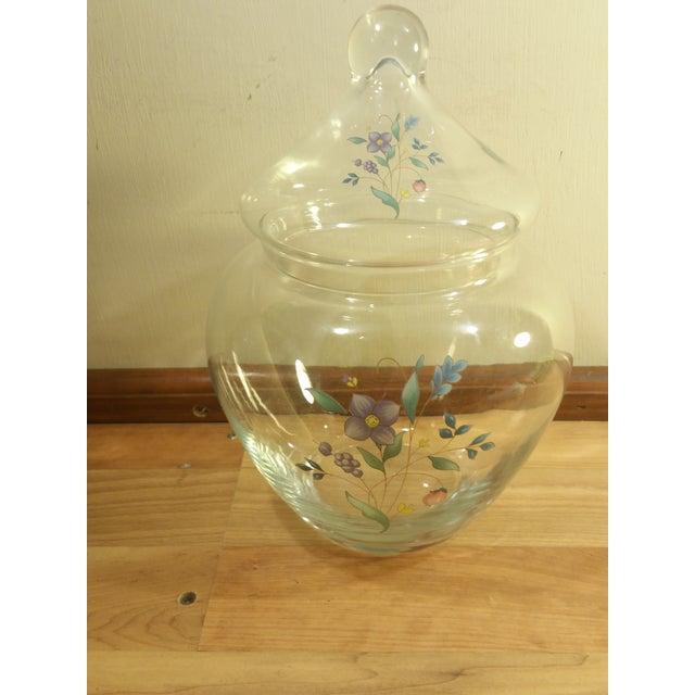 Image of Clear Glass Floral Design Lidded Jar