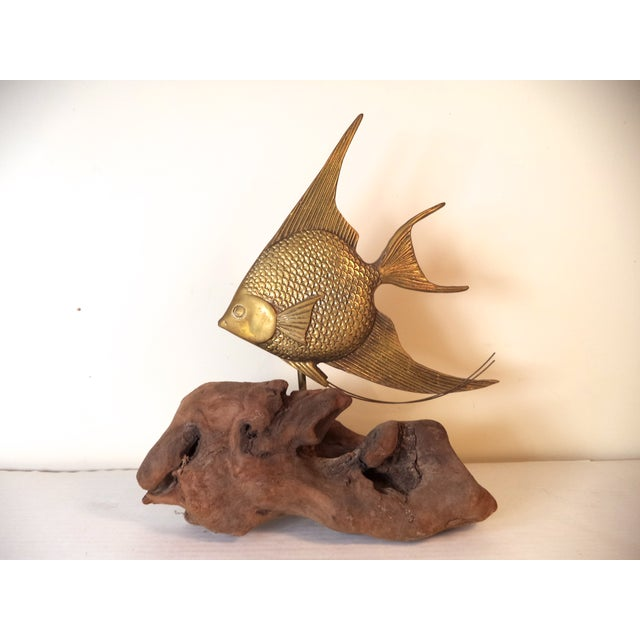 Brass Angel Fish on Driftwood - Image 2 of 6