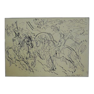Mid 20th Century Original Signed Ink Drawing By Listed U.S. Artist D. Fredenthal