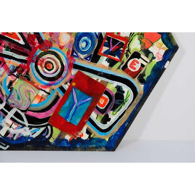 Antjuan Oden Hexagon Assemblage Painting - Image 3 of 5