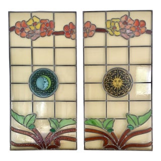 Salvaged Stained Glass Window Panels Sun & Moon, Pair