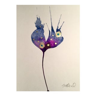 Night Sky Bloom Botanical Watercolor Painting