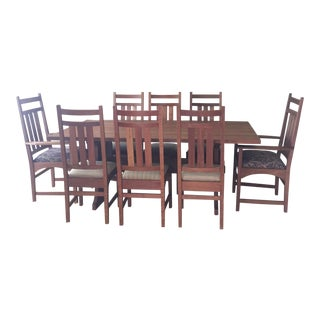Stickley Mission Cherry Dining Table & 8 Chairs