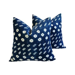 Custom Tailored Indigo Blue/White Mali Tribal Feather/Down Pillows - Pair