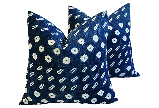 custom tailored indigo bluewhite mali tribal featherdown pillows pair
