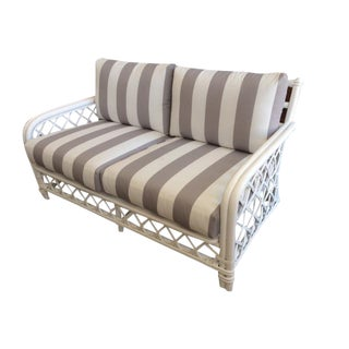 White Hollywood Regency Rattan Loveseat