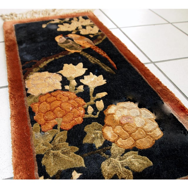1980s Handmade Vintage Silk Chinese Mat Rug - 1' x 2' - Image 9 of 9
