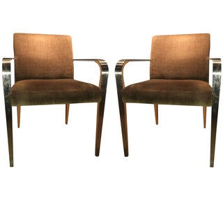 Bernhardt Stainless Mohair & Steel Chairs - Pair