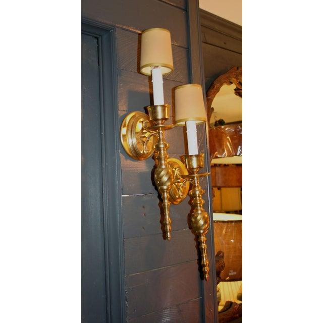 Vintage Solid Brass Sconces - Image 4 of 7