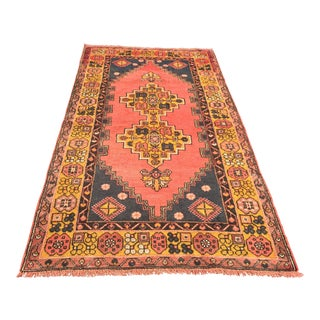 "Turkish Vintage Anatolian Area Rug - 3'11"" x 7'9"""