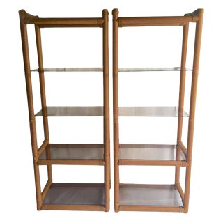 Vintage Etagere Set Floating Glass Bookcase Safari Campaign Style - A PAIR
