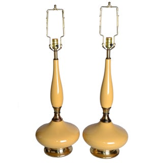 Tan Ceramic & Brass Table Lamps - A Pair