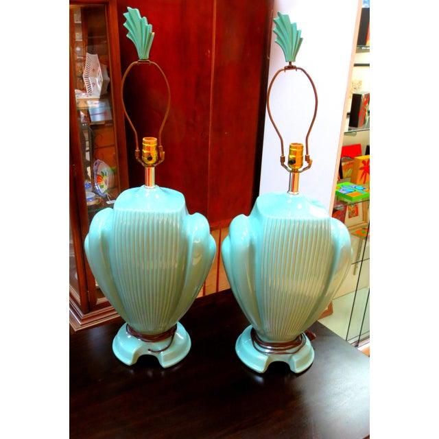 Hollywood Regency Mint Lamps - A Pair - Image 2 of 10