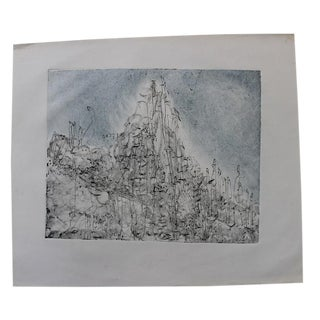Vintage Abstract Crowd Painting Monoprint